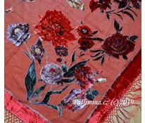 Květinový sametový šátek červený